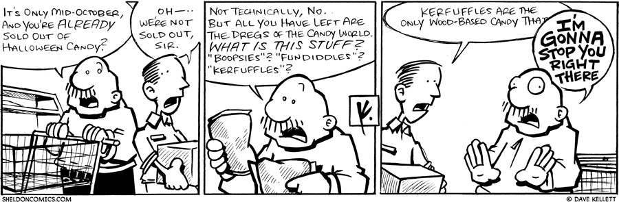 strip for October / 19 / 2009 - What happens when Gramps looks for Halloween candy?