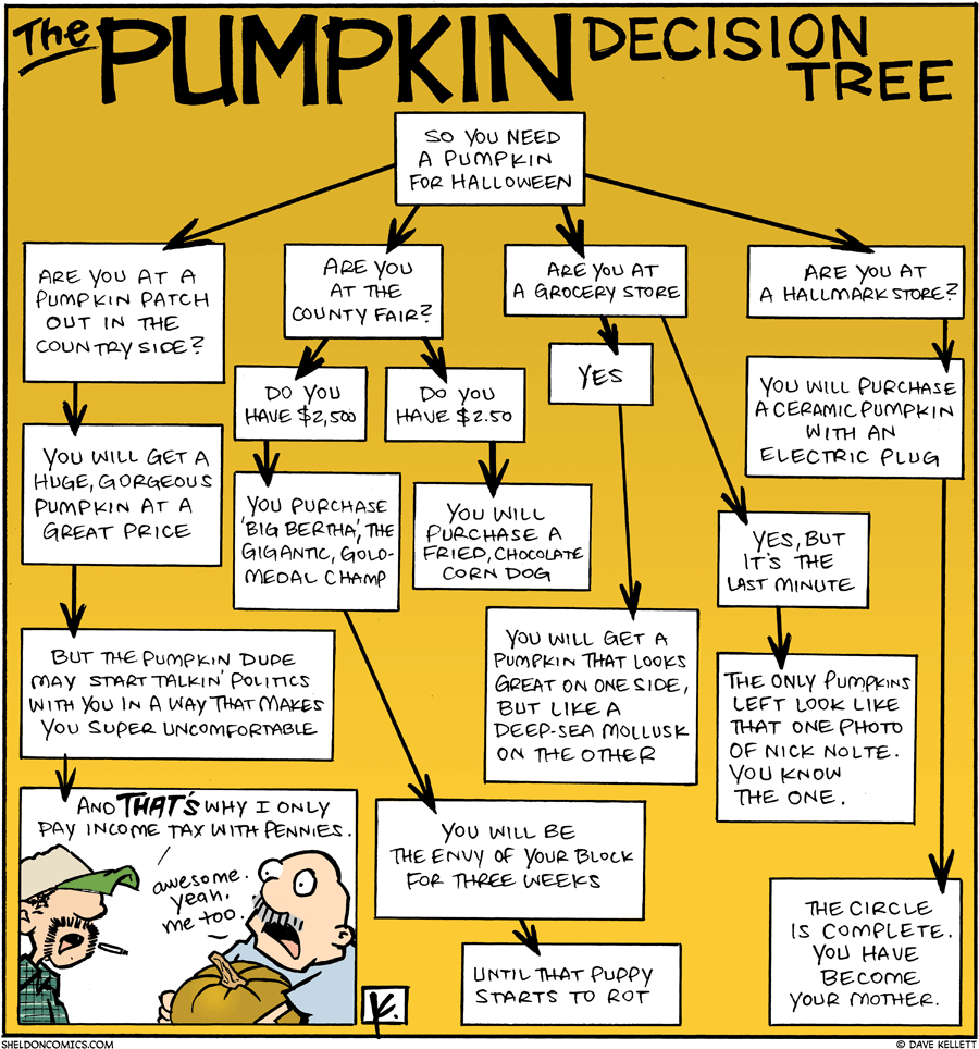 strip for October / 25 / 2009 - The Pumpkin Decision Tree says...