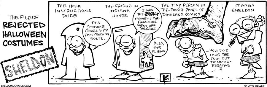 strip for October / 28 / 2009 - What are some rejected Halloween costumes of Sheldon?