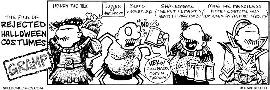 strip for October / 30 / 2009 - What are some rejected Halloween costumes of Gramp?