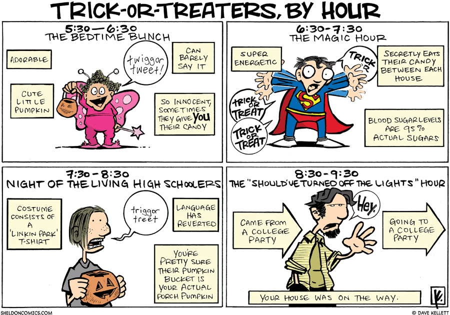strip for November / 1 / 2009 - What are the different types of Trick-or-Treaters?