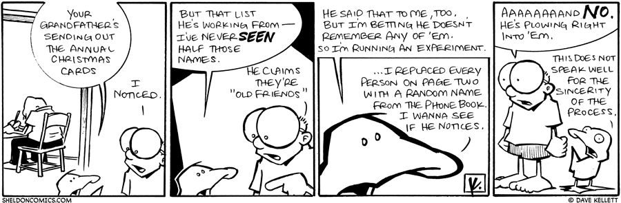 strip for December / 18 / 2009 - What is Gramps writing?