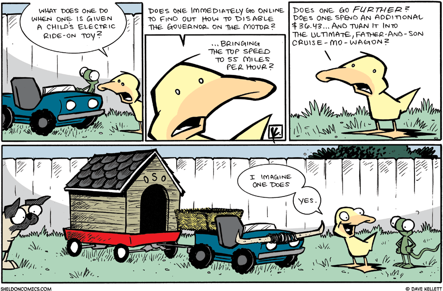 strip for December / 27 / 2009 - What does one do when one is given a Child's electric ride-on toy?