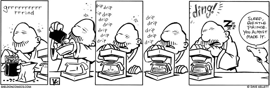 strip for February / 4 / 2010 - Gramp grinds coffee beans and...