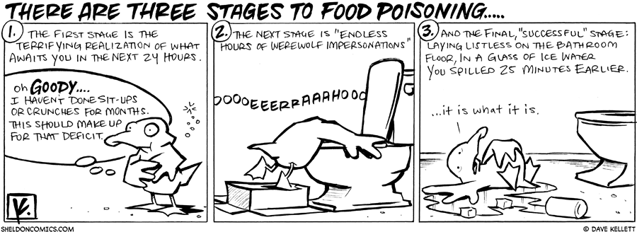 strip for June / 3 / 2010 - The three stages to food poisoning are...