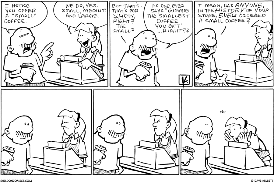 strip for October / 5 / 2010 - What does Gramp notice when getting his coffee?