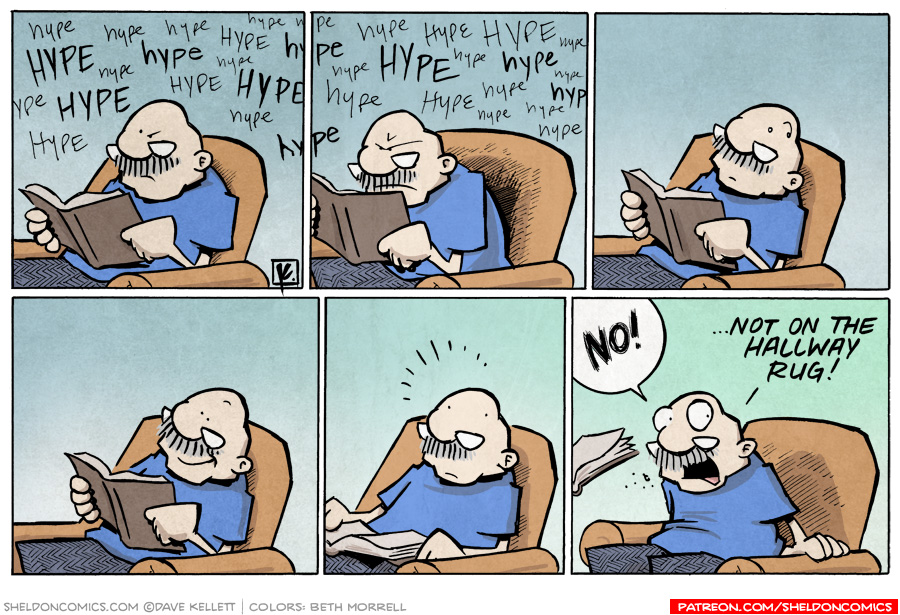 strip for October / 8 / 2010 - What distracts Gramp from reading his book?