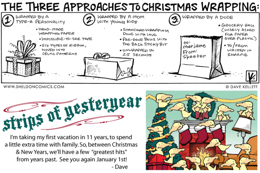 strip for December / 27 / 2010 - What are the three approaches to Christmas wrapping?