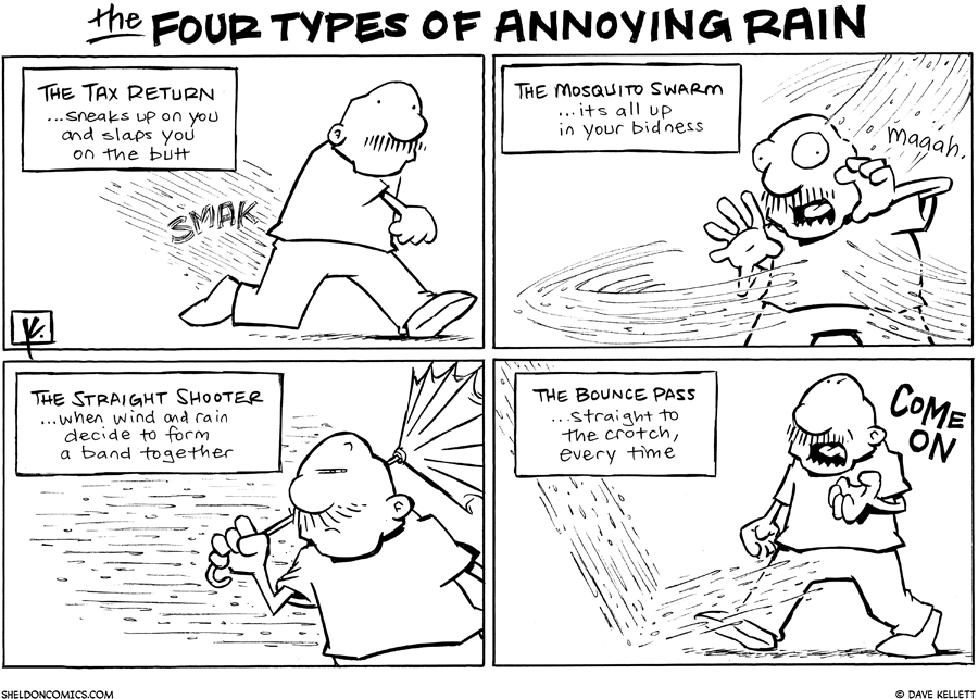 strip for March / 24 / 2011 - What are the four types of annoying rain?