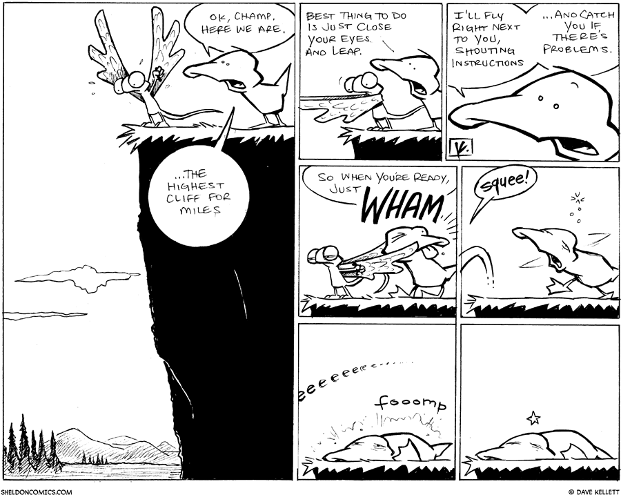 strip for June / 10 / 2011 - Flaco approaches the highest cliff and...
