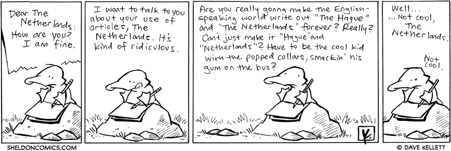 strip for October / 11 / 2011 - What does Arthur write in his letter to The Netherlands?