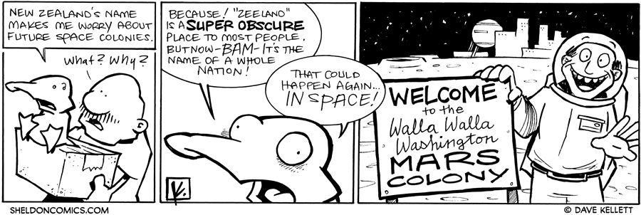 strip for November / 4 / 2011 - New Zealand's name makes Arthur worry about...