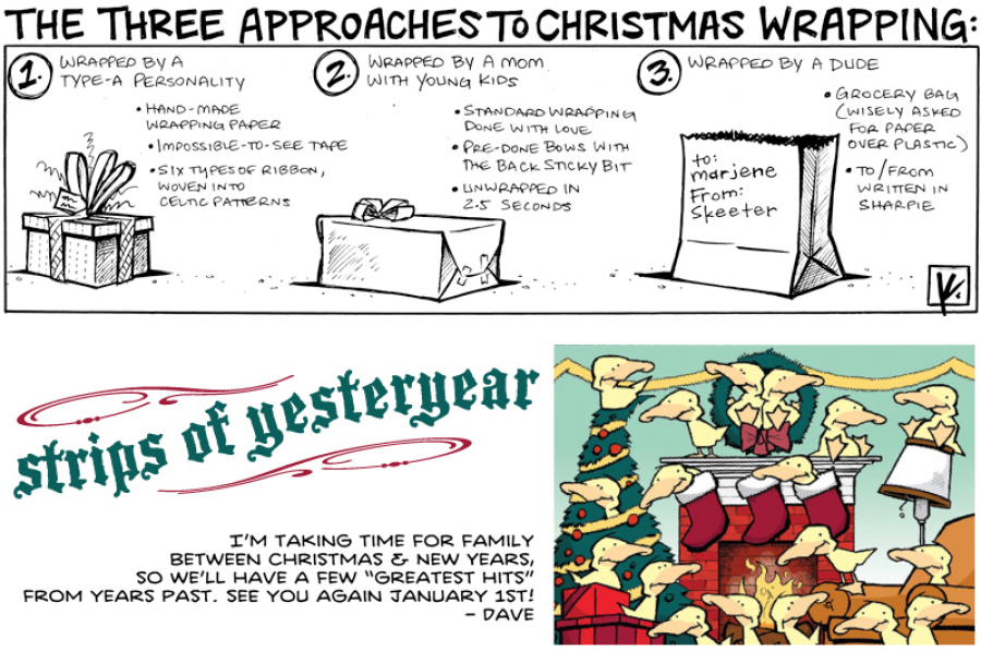 strip for December / 27 / 2011 - What are the three approaches to Christmas wrapping?