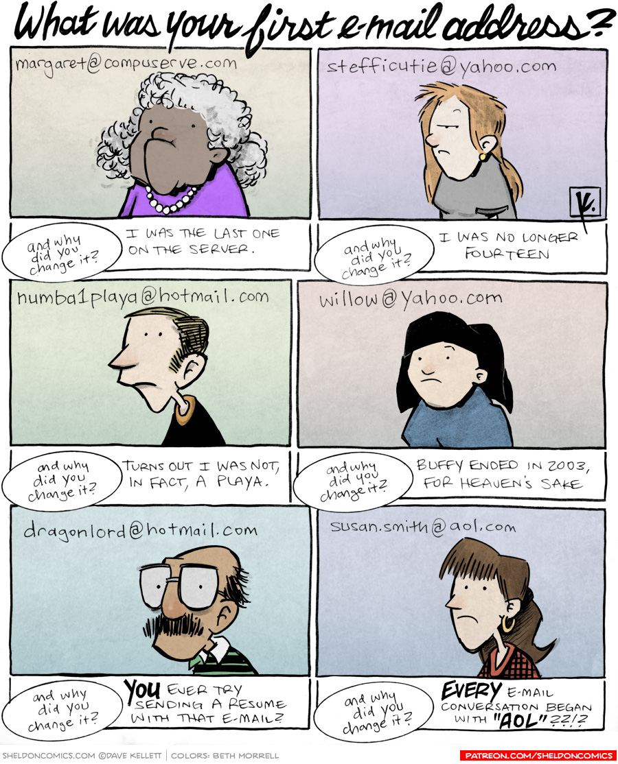 strip for March / 19 / 2012 - What was your first email address?