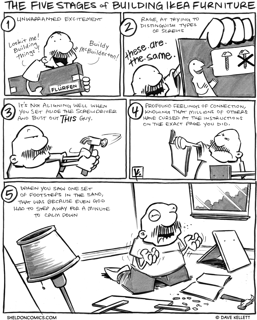 strip for March / 23 / 2012 - What are the five stages of building Ikea furniture?
