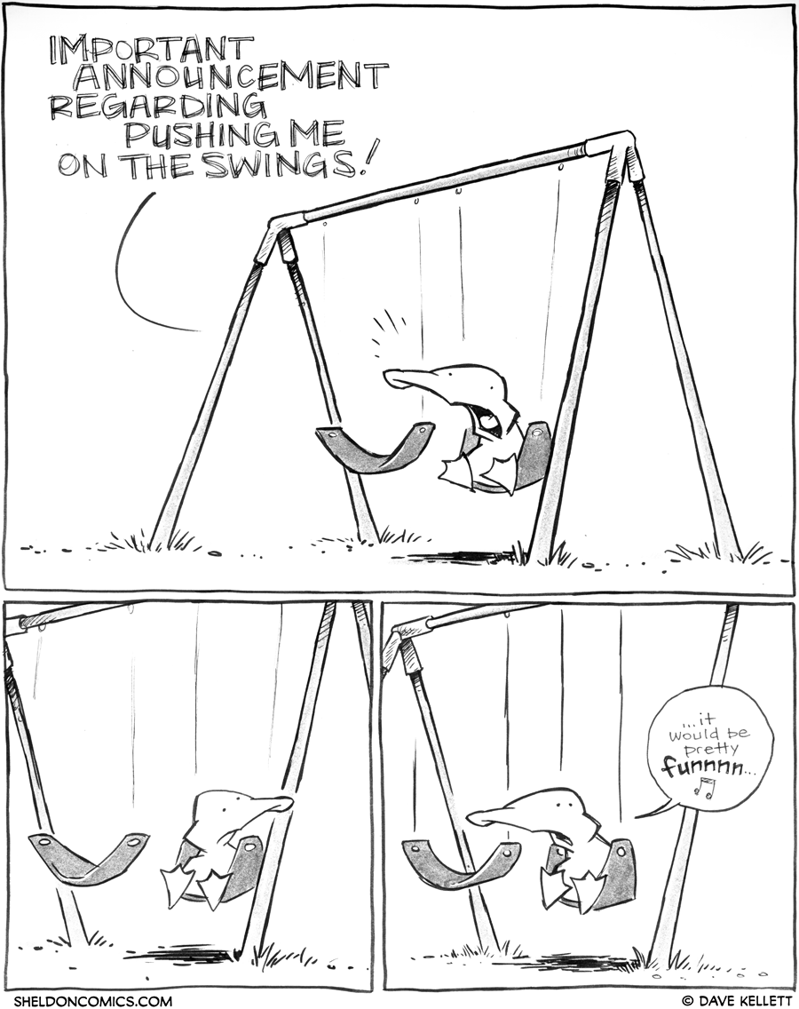 strip for April / 26 / 2012 - What announcement does Arthur make about pushing him on the swings?