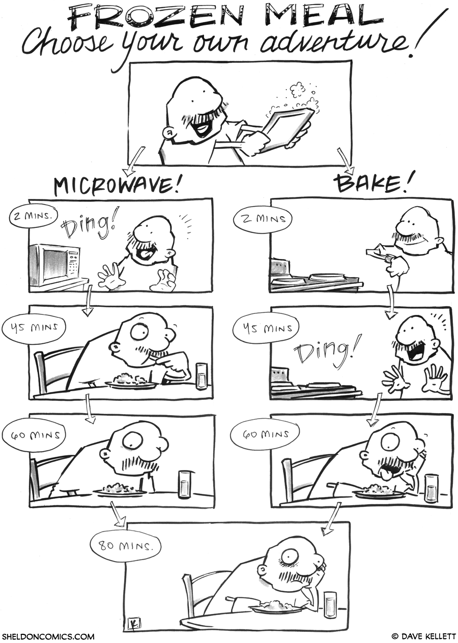 strip for September / 17 / 2012 - What type of adventure will you choose with a frozen meal?