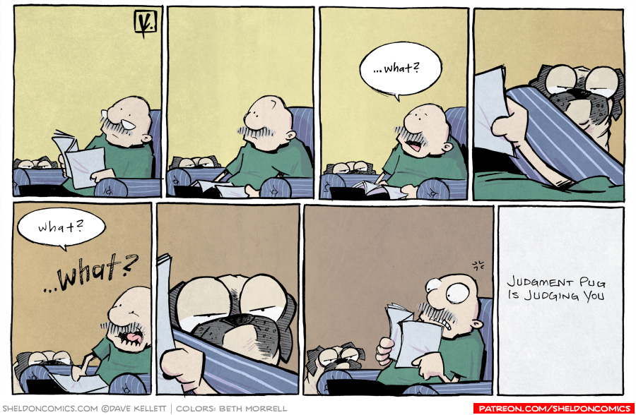 strip for November / 5 / 2012 - Gramp reads the paper while Oso...