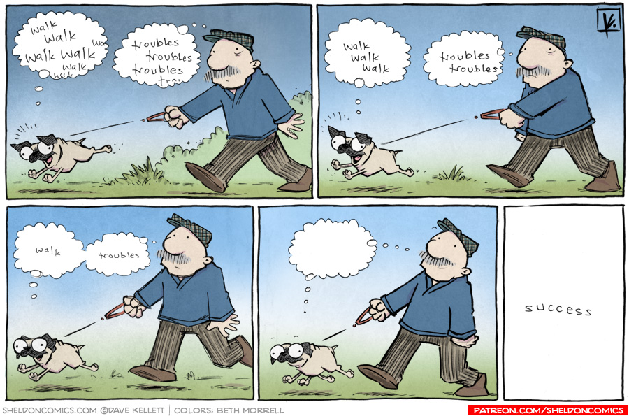 strip for January / 29 / 2013 - Gramp takes Oso on a walk and...
