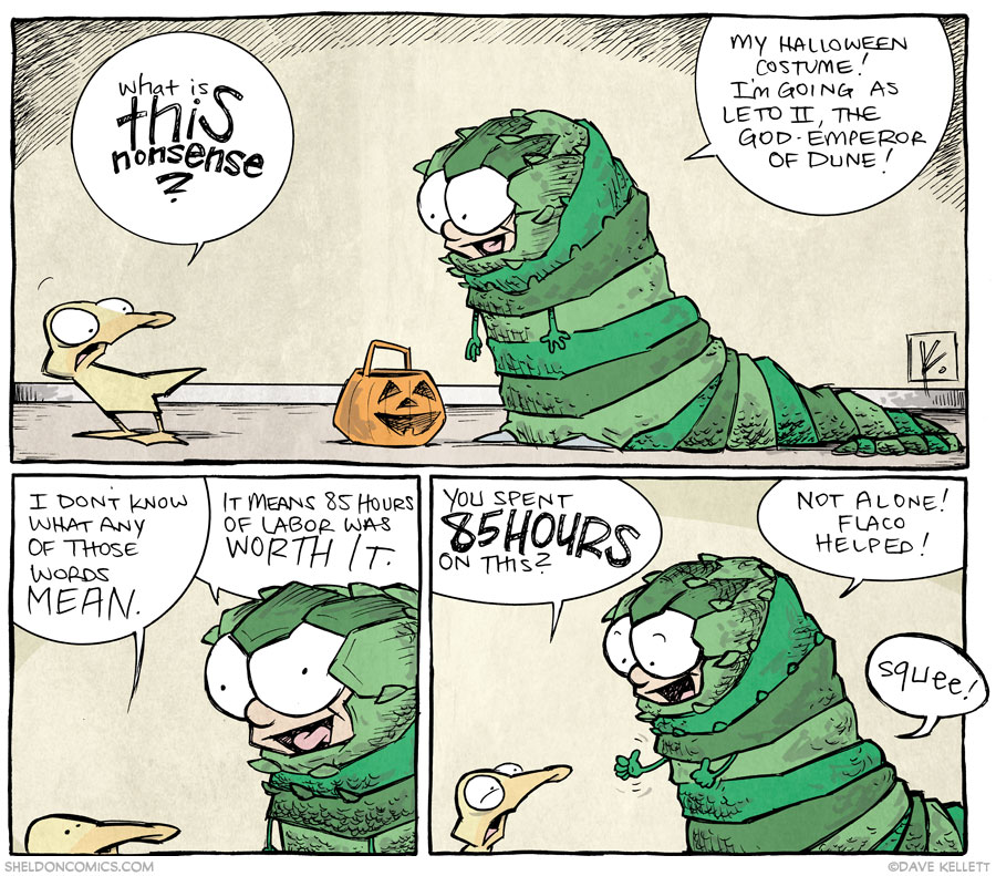 strip for October / 31 / 2013 - The God-Emperor of Dune Likes Full-Size Snickers Bars