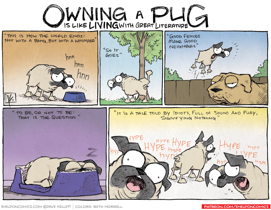 strip for November / 5 / 2013 - Owning a Pug is Like Living with Literature