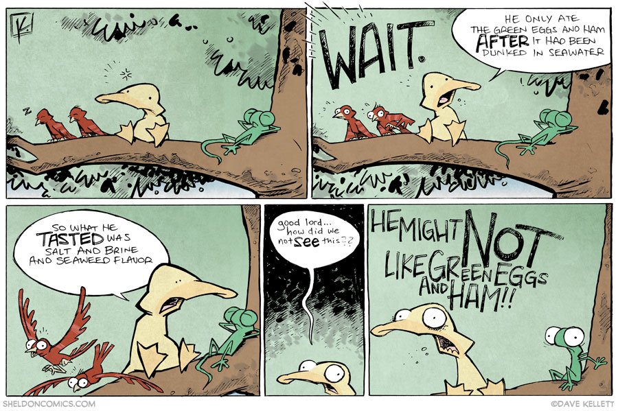 strip for January / 17 / 2014 - How did we note spot this in 'Green Eggs & Ham'???