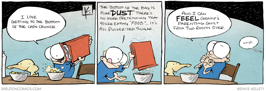 strip for January / 23 / 2014 - That sweet, sweet cereal dust at the bottom of the box