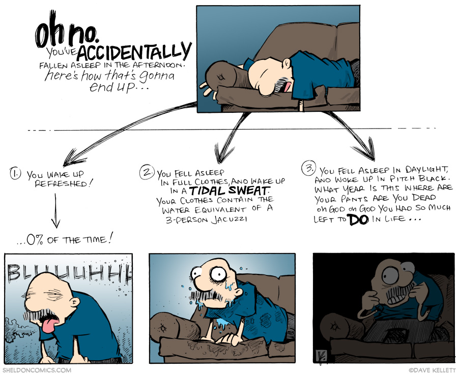 strip for September / 9 / 2014 - OH NO. You've accidentally fallen asleep in the afternoon...