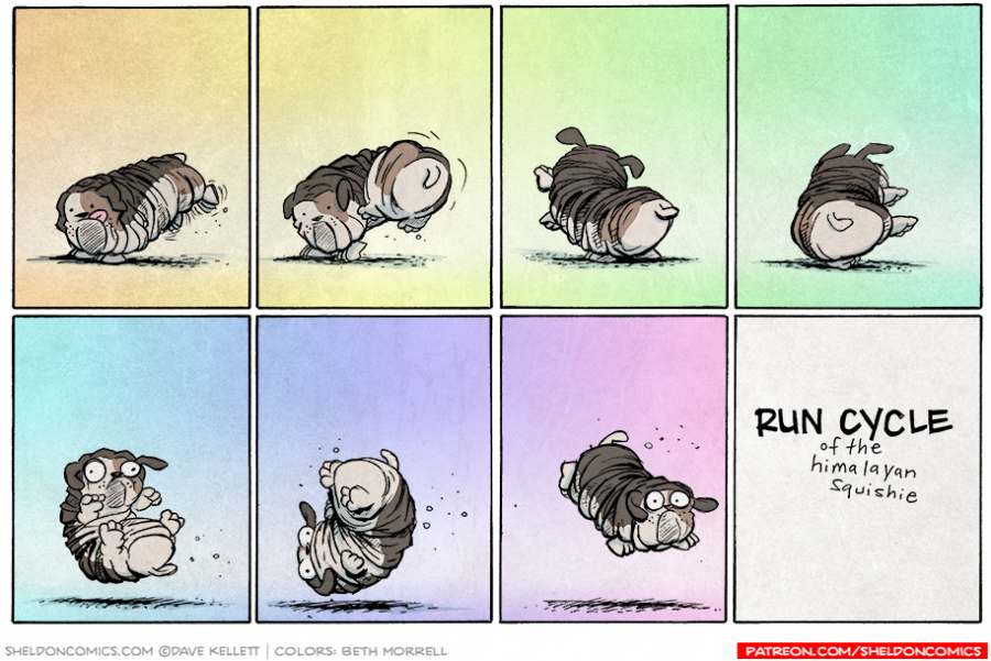 strip for September / 16 / 2014 - Run Cycle of the Himalayan Squishie