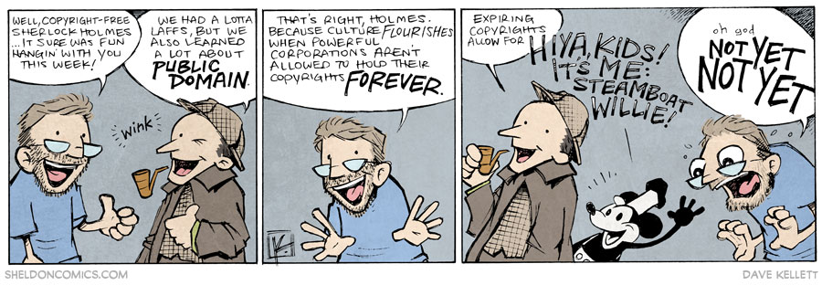strip for November / 7 / 2014 - The Last Adventure of Sherlock Holmes and his Best Friend Dave Kellett, Before the Cease-And-Desist Letters Arrive