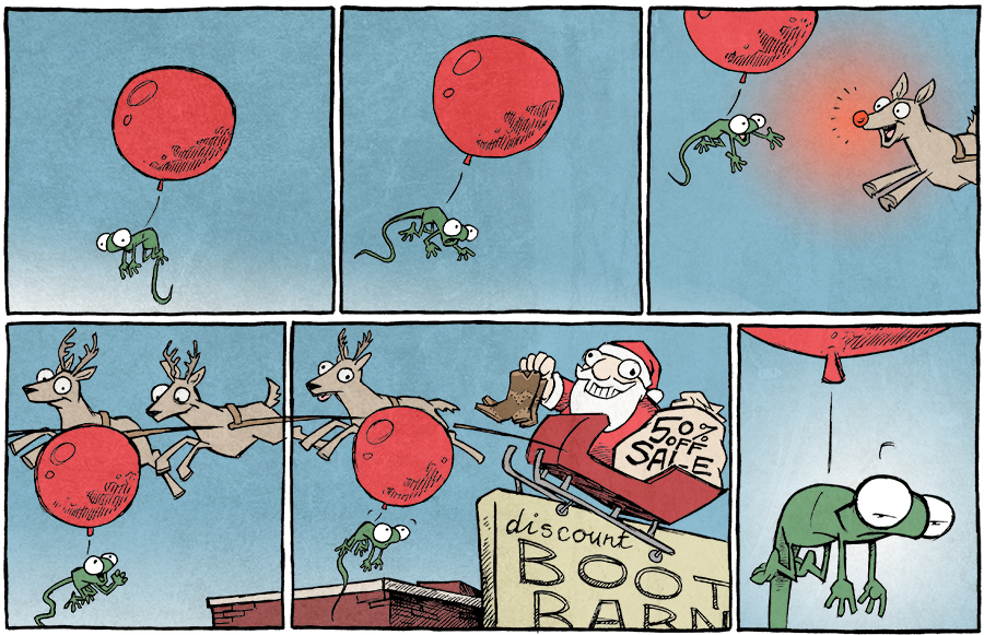 strip for December / 19 / 2014 - Flaco meets Santa! Flaco meets Santa!