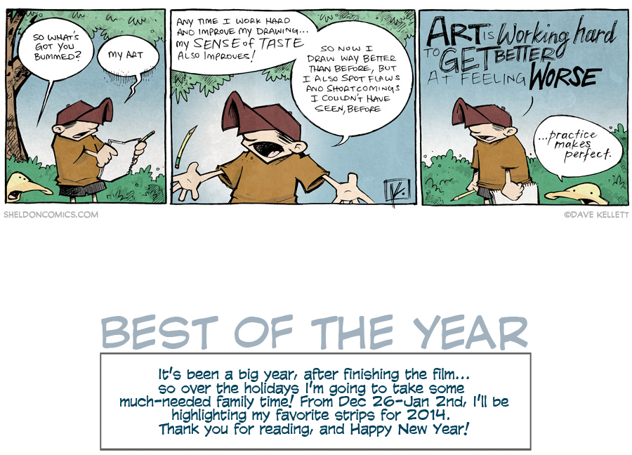 strip for December / 31 / 2014 - Art is Working Hard, At Getting Better, At Feeling Worse