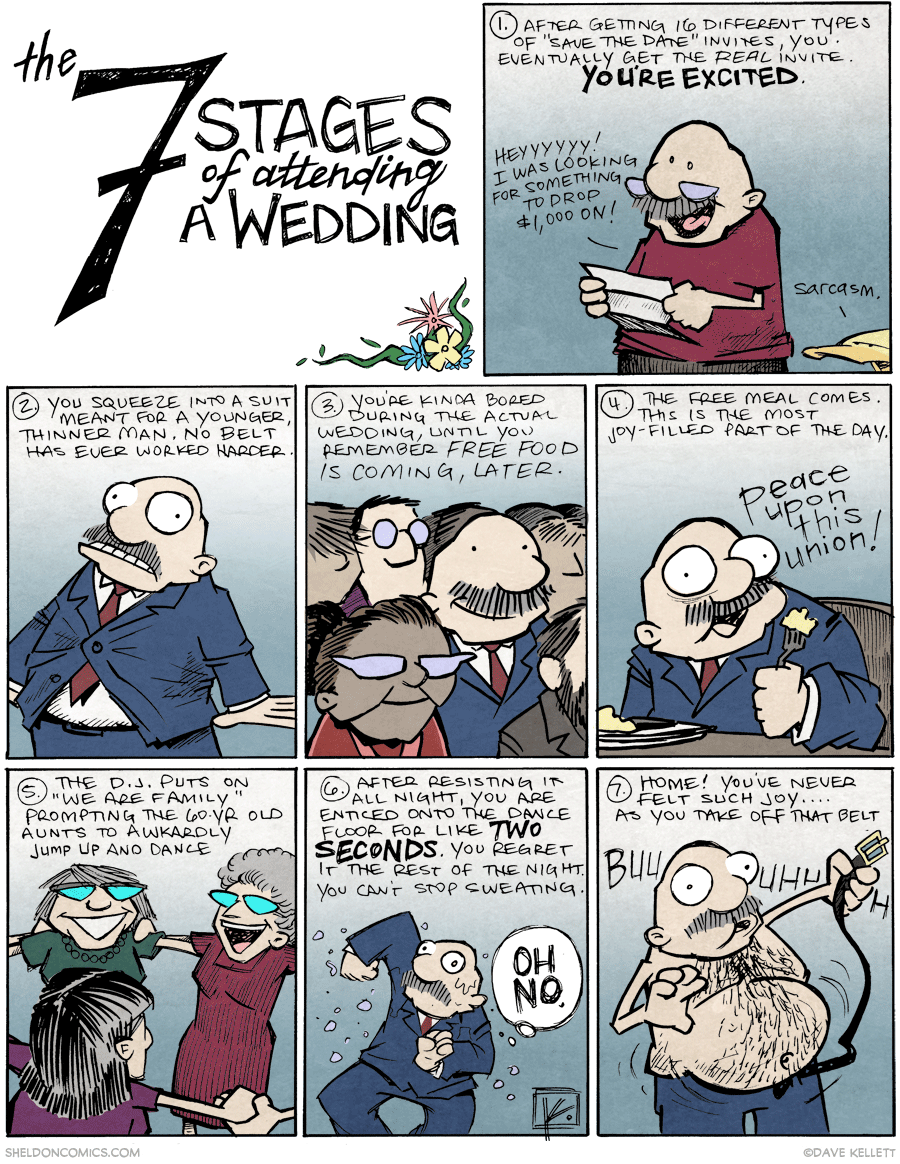 strip for February / 17 / 2015 - 7 Stages of Attending a Wedding