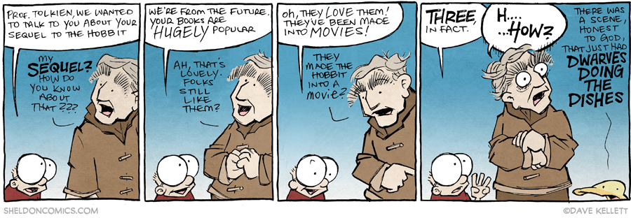 strip for March / 24 / 2015 - Tolkien Finds Out They Made a Hobbit Movie