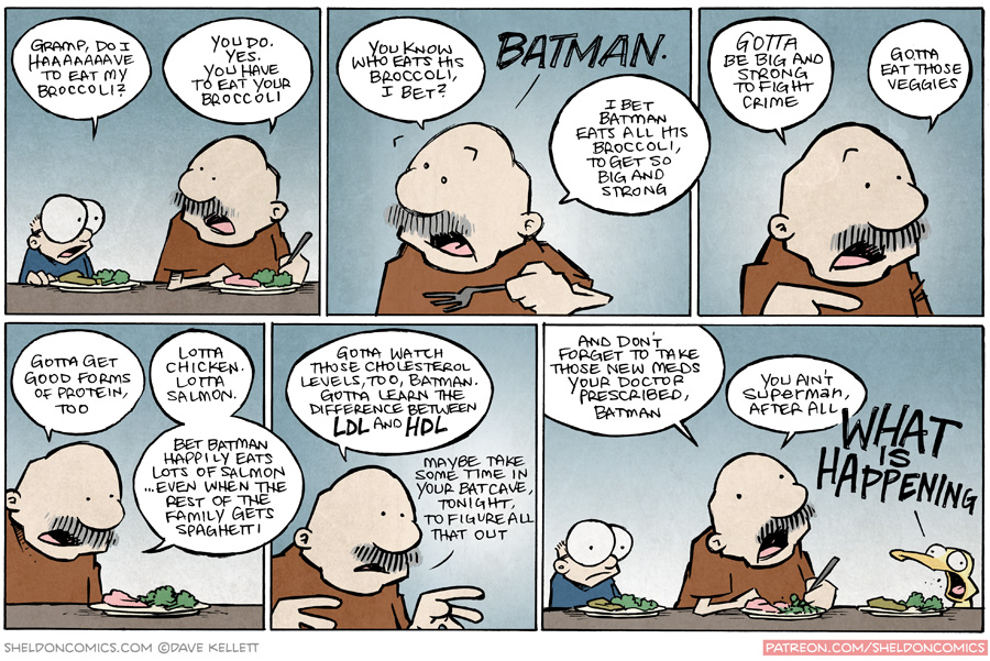 strip for October / 7 / 2015 - You better eat your broccoli...LIKE BATMAN