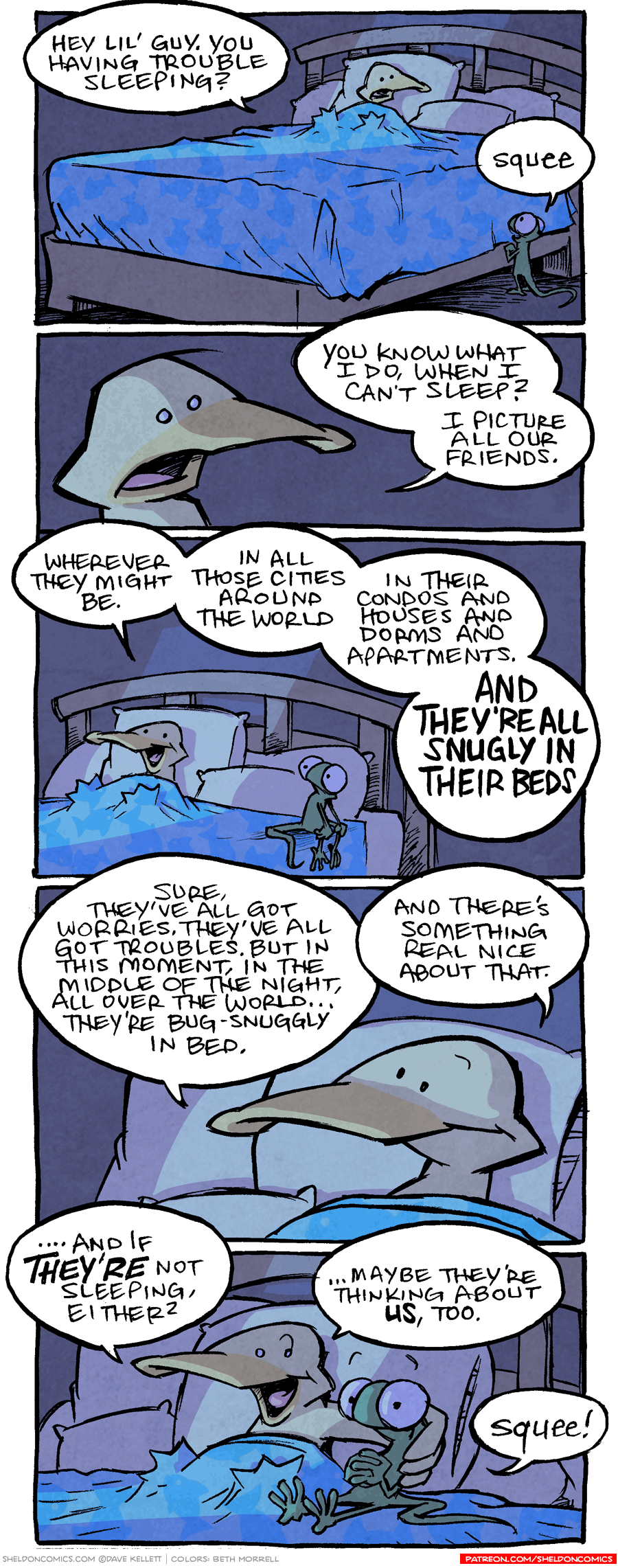 strip for March / 22 / 2017 - Every Friend, Bug-Snuggly in Bed