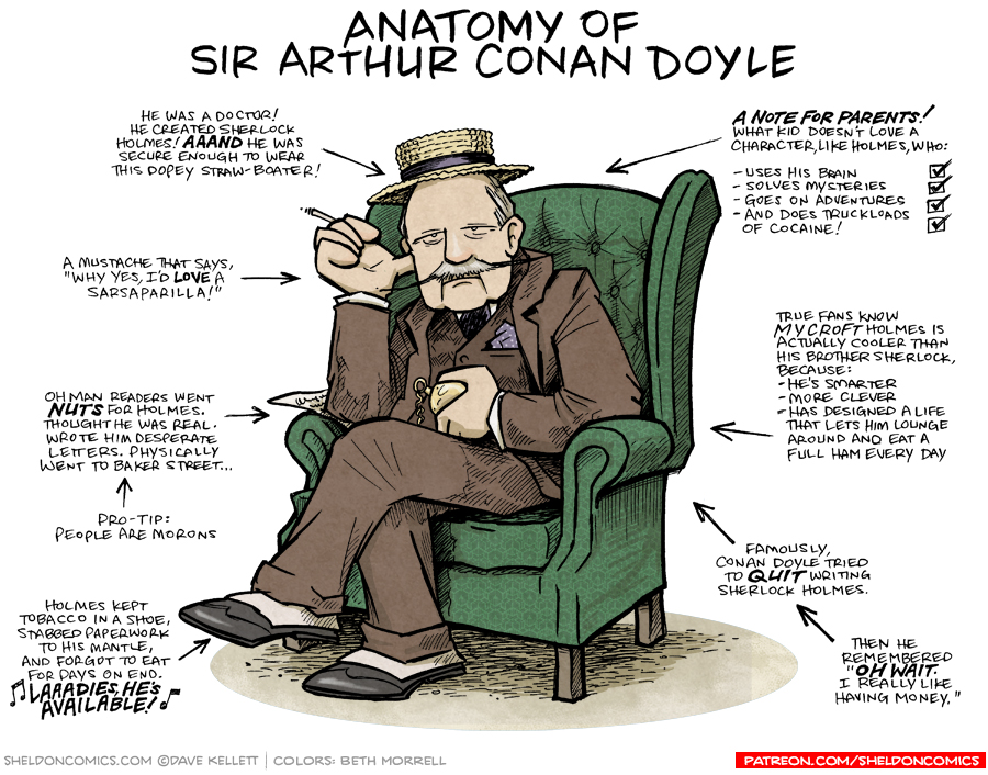 strip for July / 30 / 2018 - Anatomy of Sir Arthur Conan Doyle