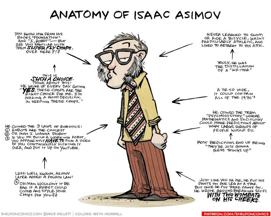 strip for August / 1 / 2018 - Anatomy of Isaac Asimov