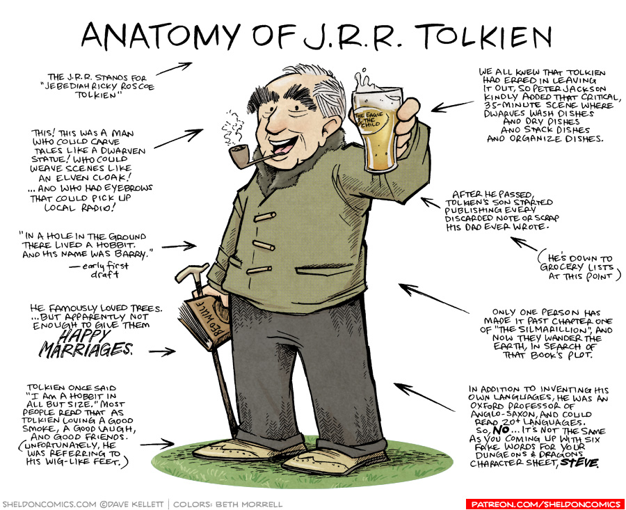 strip for August / 8 / 2018 - Anatomy of JRR Tolkien